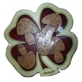 Trêfle à 4 feuilles et Champignons (casse tête en bois) puzzles