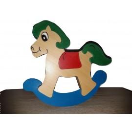 Photos puzzle en bois 3d, gamme oxos game, cheval de bois à la verticale