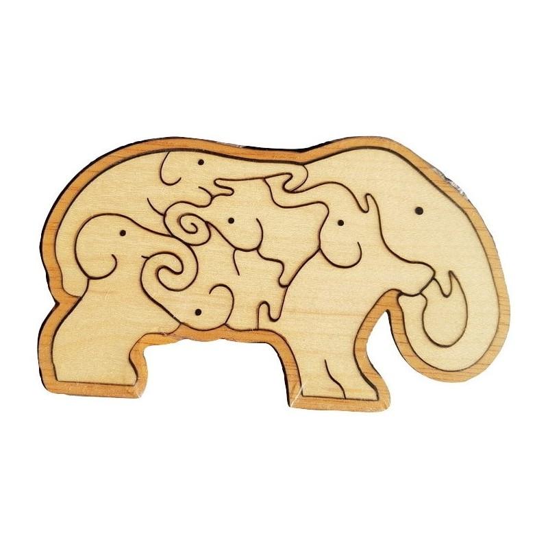 Casse tête puzzle en forme d'éléphant tangram