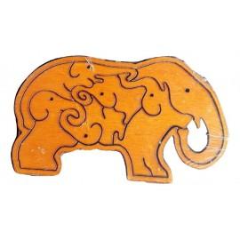 casse tête puzzle en forme d'éléphant, casse tête en bois face avant
