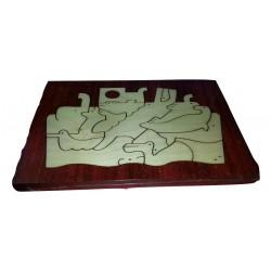 Puzzle Arche Noé foncé1 (casse tête fabriqué en bois et en métal)
