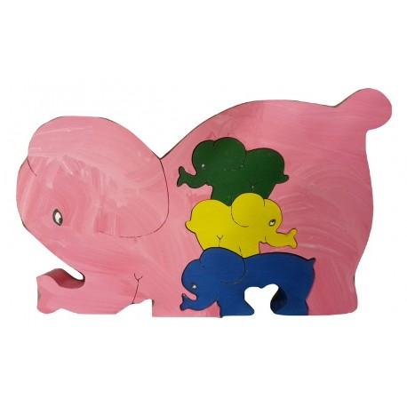 PUZZLE 3D   ELEPHANT ROSE