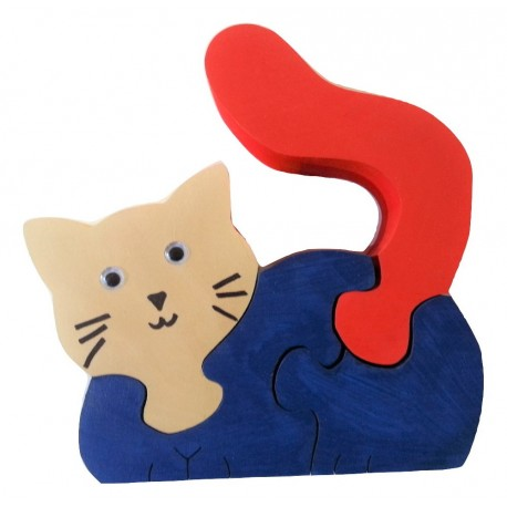 PUZZLE 3D CHAT bleu rouge