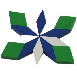 Exemple de réalisation jeu de construction Oxos Game, boite jumbo box, couleurs vert, bleuc, blanc