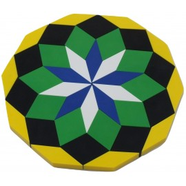 Rosaces de 40 pièces, losanges de couleurs vert,blanc,noir,bleu,jaune