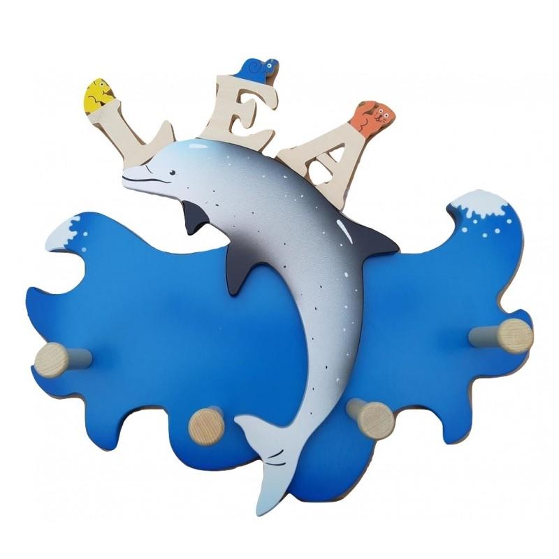 porte manteau dauphin sur une vague avec un prénom personnalisé