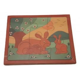 Puzzle en bois de la Lapine avec son petit lapereau, puzzle nature lapin 6 pièces